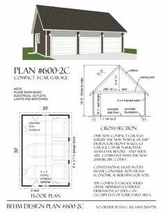 Oversized 1 car garage plan no 432 3 by behm design 18 39 x for 18 x 20 garage plans