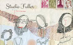Studio Fuller's new header Blog Banner, Book Pages, Scribble, Mixed Media, Studio, Words, Creative, Artwork, Fabric