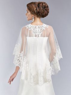 Belle Tulle/Lace Ivory Wedding Cape by SewSoiree on Etsy
