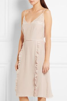 Prada - Ruffled Chantilly Lace-trimmed Silk Crepe De Chine Dress - Neutral - IT44
