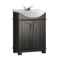 Fresca Hudson 24 in. W Traditional Bathroom Vanity in Black with Ceramic Vanity Top in White with White Basin at The Home Depot - Mobile Bathroom Vanity Base, Vanity Set, White Bathroom, Small Bathroom, Master Bathroom, Bathroom Vanities, Bathroom Ideas, Bathroom Cabinets, Bathroom Flooring