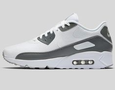 02e4cc9eaa7997 Mens white gray nike air max 90 ultra 2.0 running shoes sneakers size 10