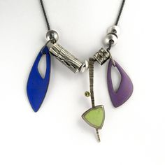 Assemblage necklace. Citron chrysoprase, peridot, enamel, sterling silver. All images are copyright (c) W Walsh Designs.