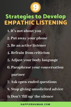 Empathic listening is an essential communication skills for relationships. Discover 9 ways to be more empathetic in your conversations and. Good Listening Skills, Active Listening, Coping Skills, Life Skills, Effective Communication Skills, Effective Leadership, Self Improvement Tips, Koh Tao, Emotional Intelligence