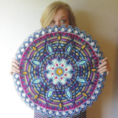 LOOK AT THIS THING! LOOK AT IT! This has consumed my life for the past week so it was my goal to finish it today for my birthday. That and eat as much black bean dip as possible. Happy birthday to meeeeee! Pattern is Mandala No. 5 by CAROcreated on Ets Crochet Bunting, Crochet Mandala Pattern, Crochet Circles, Crochet Tablecloth, Crochet Squares, Cute Crochet, Beautiful Crochet, Crochet Crafts, Crochet Doilies