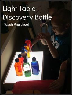 Light Table Discovery Bottles by Teach Preschool Preschool Science, Science For Kids, Science Activities, Teach Preschool, Discovery Bottles, Light Board, Sensory Bottles, Science Stations, Toddler Fun
