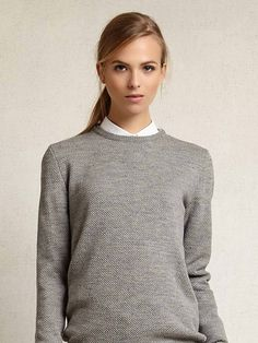 Zady .01 The Sweater in Light Grey. Sourced and made in the USA.