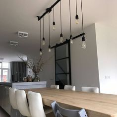 Industrial kitchen Loftbar - / 5 different Edison bulbs with black brass holders Dining Area, Dining Table, Large Lamps, Living Comedor, Interior Inspiration, Home Accessories, Sweet Home, New Homes, Living Room