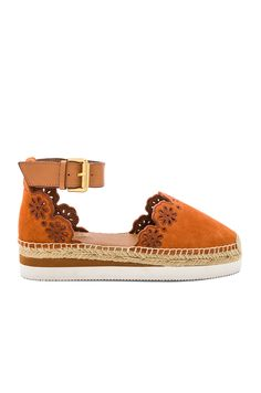 See By Chloe Glyn Espadrille Sandal in Orange & Natural Calf