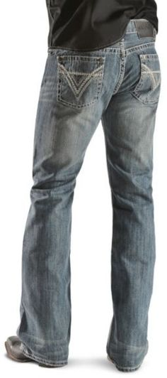 """Rock & Roll Cowboy Heavy Bean Stitch Double """"V"""" Pockets Pistol Jeans available at Country Style Outfits, Country Wear, Western Outfits, Western Shirts, Western Wear, Mens Fashion, Fashion Outfits, Rocker Fashion, Style Matters"""