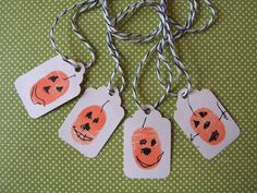Thumbprint Pumpkin Tags for Halloween Treats from Urban Comfort