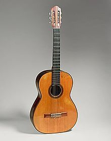 Guitar by Hermann Hauser, 1937, Munich, Germany. Concert guitar of Andrés Segovia's from 1937 until 1962. Gift of Emilita Segovia, Marquesa of Salobreña, 1986 (1986.353.1). Housed in the Metropolitan Museum of Art