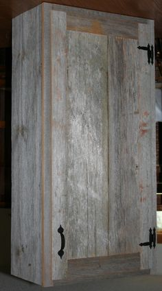 Barn Wood Weathered Grey Cabinet    LOVE THIS WOOD!! Man I wish I could do this in my kitchen!!!