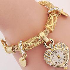 $5.89 AUD - Women Crystal Studded Bangle Bracelet Watch Fashion Bling Wristwatch Gold Silver #ebay #Fashion