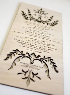 Wooden Wedding Invitation, Unique Invite