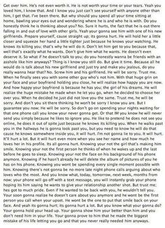 Long Quote. Best relationship/break up quote ever. I'm saving this for my beautiful Gracie who believes in love with all her heart.  I will hate to see her hurt!