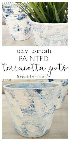 dry brush painted terracotta pots kreativk.net