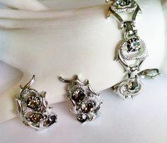 Bracelet Earrings Set Smoky Gray Rhinestones SAC Vintage Silver Tone Clip on…