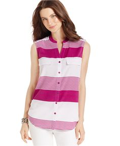 NY Collection Sleeveless Striped Utility Shirt - Tops - Women - Macy's