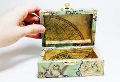 Antique Map Box - Small Wooden Trinket Box Decoupaged with Antique Maps Print - Decorative Metal Clasp and Hinged Lid. $32.50, via Etsy.