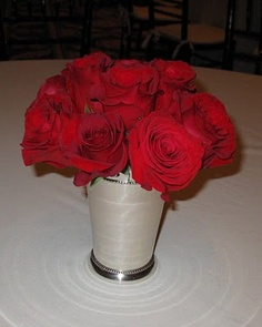 centerpieces red roses in julep cups