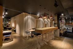 Awesome Restaurant Design with Ropes Decoration: Pretty Odessa Restaurant In Kiev Details Wooden Bar Table Picturesque Pendant Lamps Design Studio, Design Lab, House Design, Restaurant Design, Odessa Restaurant, Restaurant Restaurant, Wooden Bar Table, Round Wood Dining Table, Dining Set