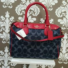 Coach Imera satchel in denim and classic red Coach Imera satchel in denim and classic red.  Includes matching detachable shoulder strap. New with tags attached. Coach Bags Satchels
