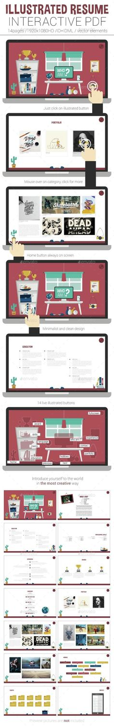 Illustrated Interactive PDF Resume #interactive #PDF #portfolio #CV #resume #layout #illustration