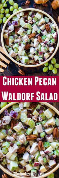 Chicken Waldorf Salad is the perfect combination of sweet and savory. Crispy apples, juicy grapes and crunchy nuts are combined to create the perfect bite! #chicken #salad #waldorf