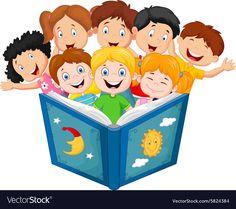 Illustration of Cartoon little kid reading book vector art, clipart and stock vectors.