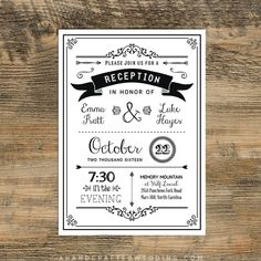 Black Diy Reception Only Invitation