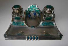 Superb Art Nouveau Silver Plate Enamel Inkwell Stand Jugendstil German C1890 | eBay
