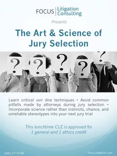 Focus Litigation Consulting's elite team of jury researchers, trial consultants, and litigation strategists are second to none. Each of our senior jury consultants is trained in the effective use of social science research in the courtroom. In addition, our consultants are seasoned attorneys with extensive jury trial and litigation experience in complex civil and criminal matters.