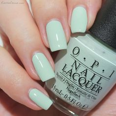 Opi this cost me a mint nails in 2019 ногти Mint Green Nail Polish, Mint Green Nails, Mint Nails, Pastel Nails, Nail Polish Colors, Acrylic Nails, Mint Toes, Matte Pink Nails, Opi Nails