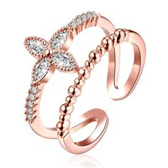 a45ee92ba Fashion Hot Sale Cuff Rings For Women Girls Wedding Bridal Charm Austrian  Crystal Flower Jewelry Gold color Gifts Bijoux Ringen