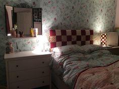 Duck egg and raspberry bedroom