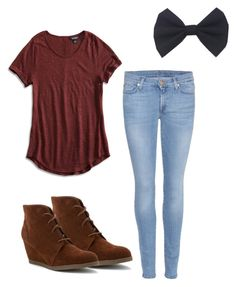 """First day of school outfit"" by kennedysla on Polyvore featuring Madden Girl, 7 For All Mankind and Lucky Brand"