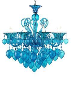 """Bella Vetro 8-Light 36"""" Aqua Blown Glass Chianti Chandelier 04618"""
