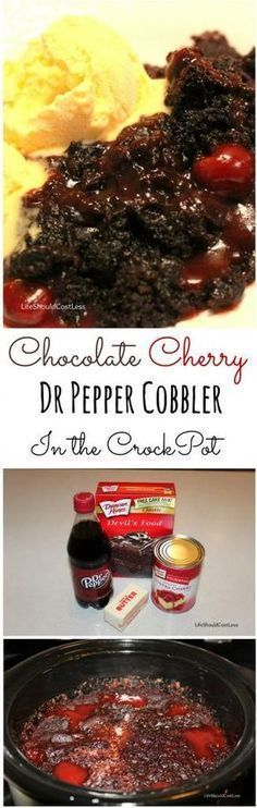 Chocolate Cherry Dr. Pepper Dump Cobbler in the Crockpot. Just five minutes prep and two hours in your slow cooker stand between you and this DIVINE dessert. Recipe found at http://lifeshouldcostless.com.