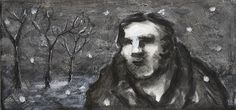Peter BOOTH  Drawing 2007  (Man and trees in snow)  Mixed media on paper,