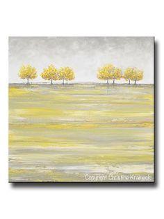 ORIGINAL Art Abstract Yellow Grey Painting Gold Tree Landscape Textured Palette Knife Wall Decor - Christine Krainock Art - Contemporary Art by Christine - 1