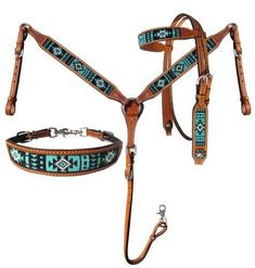 Showman® Argentina Cow Leather Headstall and breast collar set with turquoise aztec beaded Barrel Racing Tack, Barrel Saddle, Barrel Horse, Saddle Rack, Western Bridles, Western Horse Tack, Wither Strap, Headstalls For Horses, Horse Gear