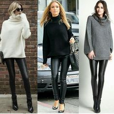 Leggings Outfit Winter, Leather Leggings Outfit, Legging Outfits, Winter Fashion Outfits, Fall Winter Outfits, Casual Outfits, Cute Outfits, Fashion Tips, Black Leather Pants