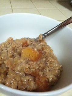 Cinnamon Apple Overnight CrockpotOatmeal. Sounds awesome! Beats making oatmeal every morning forRaegan--this I can do as a make-ahead breakfast. Think I'd usecoconut milk and palm sugar..