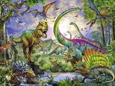 140 x 100 cm Mur Deco Poster Mural Image by GREAT ART Affiche Dinosaure Murale Chambres Enfants D/écoration Murs comiquel Aventure Dino Mondiale Style Jungle Cascade Dinosaurus