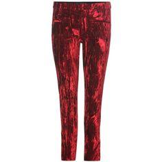 Haider Ackermann Velvet Trousers (€1.350) ❤ liked on Polyvore featuring pants, red, red pants, red velvet pants, haider ackermann, velvet pants and velvet trousers