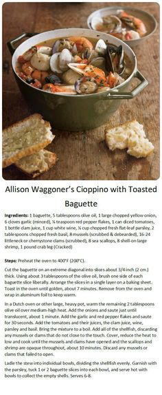 Allison Waggoner's Cioppino with Toasted Baguettes! Get the recipe ...