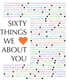 Customize your own gift. Quickly and easily create a special gift for someone you love. 60 Things We {Love} About You makes a one-of-a-kind gift.