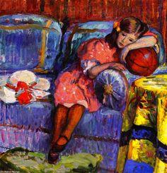 Rapariga eo balão vermelho, óleo sobre tela por Henri Lebasque (1865-1937, France)