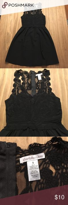 Adorable black lace-top dress Worn once- Black lace top dress. Bust area is solid and the rest of the top is sheer. Very cute! Charlotte Russe Dresses